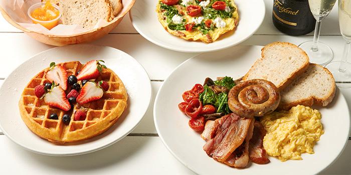 Bread Basket, Bacon Kale Fritata, Coastes Breakfast and Waffles from Coastes in Sentosa, Singapore