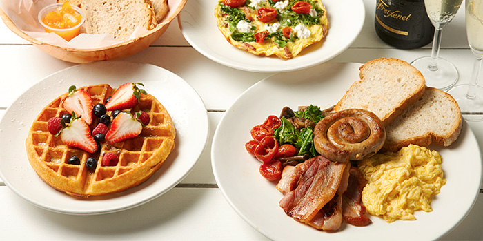 Bread Basket, Bacon Kale Fritata, Coastes Breakfast and Waffles from Coastes in Sentosa, Singapore