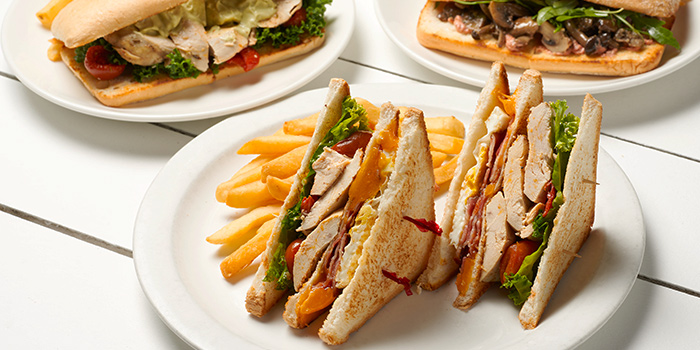 Avocado and Chicken Salad, Citrus Crab Salad and Greek Salad from Coastes in Sentosa, Singapore