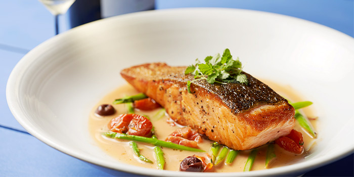 Pan Fried Norwegian Salmon and White Wine from Coastes in Sentosa, Singapore