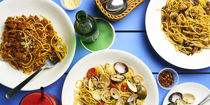 Bolognaise, Vongole & Mushroom Aglio Olio from Coastes in Sentosa, Singapore