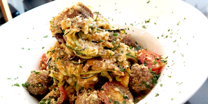 Raw Zucchini Linguine with Meatballs from Afterglow on Keong Saik Road in Chinatown, Singapore