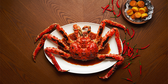 Whole Alaskan King Crab in Chilli Crab Sauce from 15 Stamford by Alvin Leung at The Capitol Kempinski Hotel in City Hall, Singapore