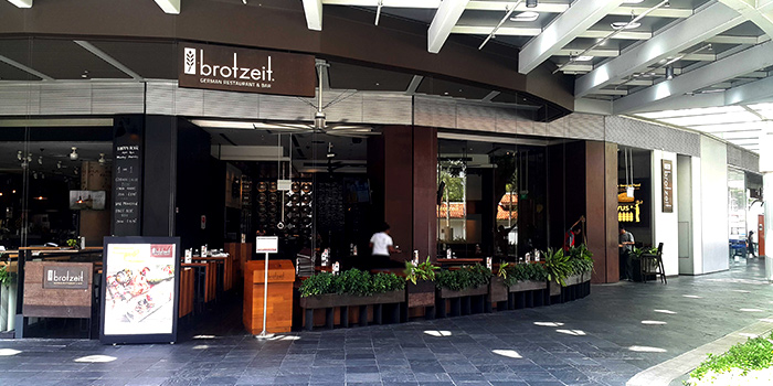 Exterior of Brotzeit German Bier Bar & Restaurant (Raffles City) in City Hall, Singapore
