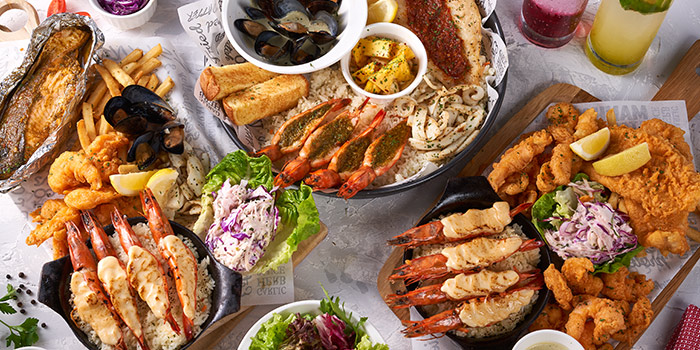 Food Spread from The Manhattan Fish Market (Marina Square) in City Hall, Singapore