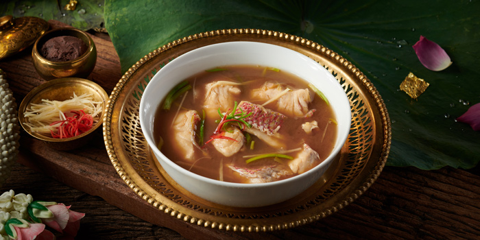 Sweet and sour Soup with Red Snapper from Saneh Jaan at G/F, Sindhorn Tower 130-132 Wireless Road Pathumwan Bangkok