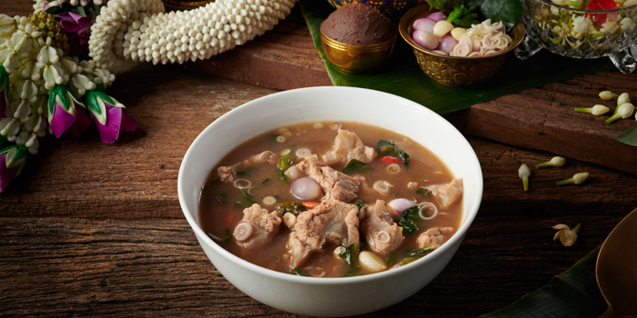 Traditional Hot and Spicy Herbal Pork Soup from Saneh Jaan at G/F, Sindhorn Tower 130-132 Wireless Road Pathumwan Bangkok