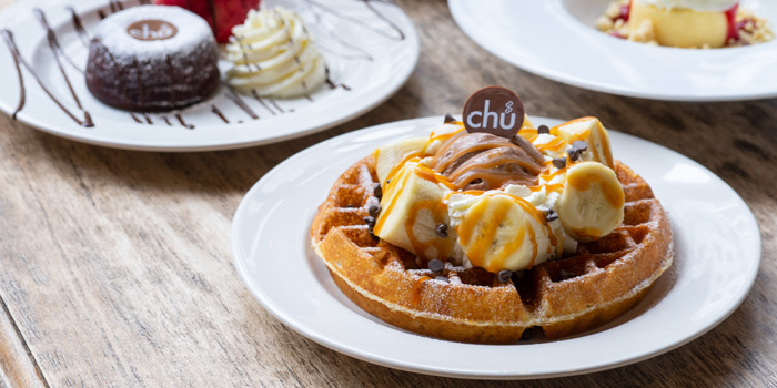 Waffles Banana from Chu Chocolate Bar and Cafe (Asoke) at 388 Exchange Tower Sukhumvit Rd, Khlong Toei Bangkok