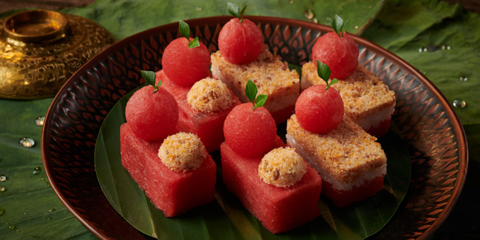 Watermelon with Sweet dried Salmon from Saneh Jaan at G/F, Sindhorn Tower 130-132 Wireless Road Pathumwan Bangkok
