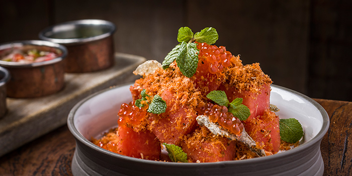 Royal Thai Salmon Floss & Watermelon Salad with Chili Salt and Dried Galangal and  Brown Coconut & Salmon Roe, Mamasan, Central, Hong Kong