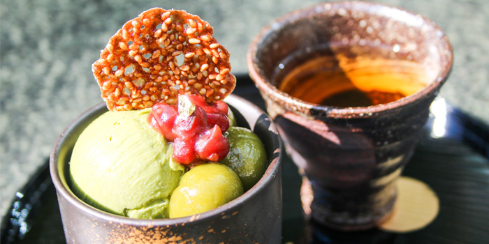Green Tea Pudding with Japanese Mochi, Umami, Cyberport, Hong Kong