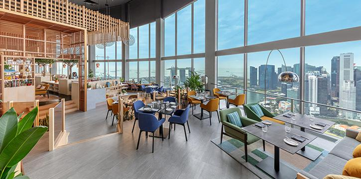 Main Dining Area of SKAI Restaurant at Swissotel the Stamford in City Hall, Singapore