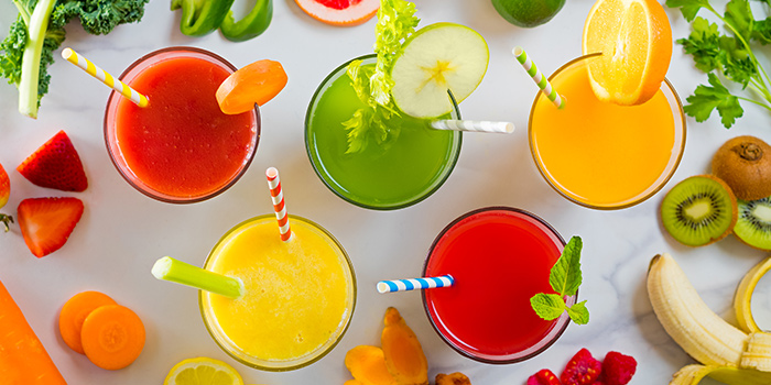 Selection of Fresh Fruit Juice from Verde Kitchen at Hilton Singapore in Orchard, Singapore