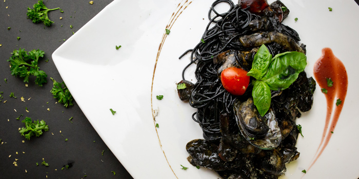 Black Fettuccine or Black Spaghetti with seafood from Sala Rossa at The Grand Building Soi Mahadlekluang 2,Rajdamri Rd Lumpini,Pathumwan Bangkok
