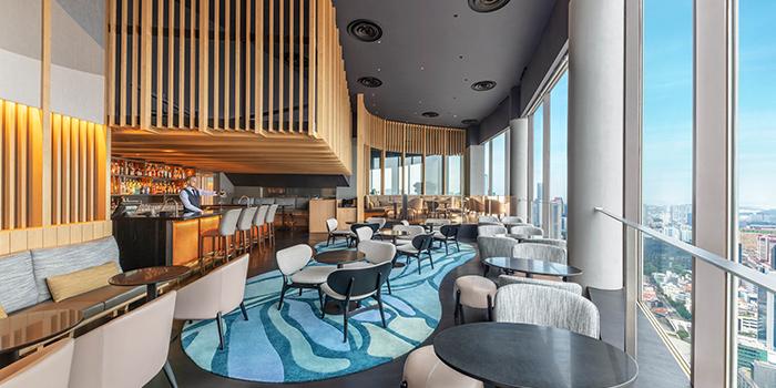 Interior of SKAI Bar at Swissotel the Stamford in City Hall, Singapore