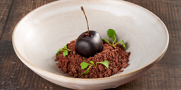 Chocolate, Pickled Cherries, Cherry Coconut Foam, Chocolate Mousse from Basque Kitchen by Aitor in Telok Ayer, Singapore