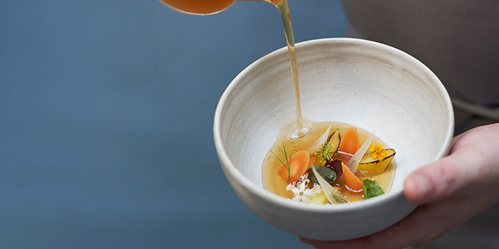 Porrusalda - Leek and its broth, White Onions, Carrots from Basque Kitchen by Aitor in Telok Ayer, Singapore