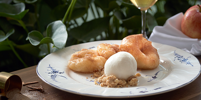 Apple Fritters with Cinnamon Sugar and Vanilla Ice Cream from Frieda in City Hall, Singapore