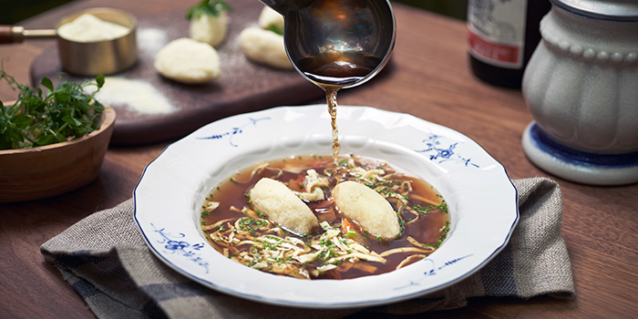 Consomme with Semolina Dumpling from Frieda in City Hall, Singapore