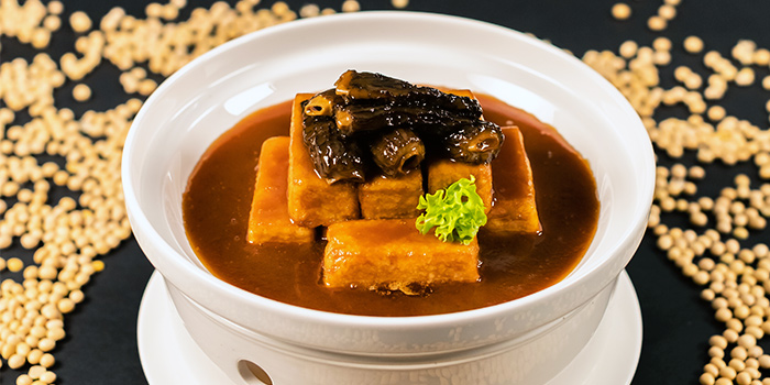Beancurd with Moral Mushroom in Abalone Sauce from Made In Orient by Chef Avenue in Tai Seng, Singapore