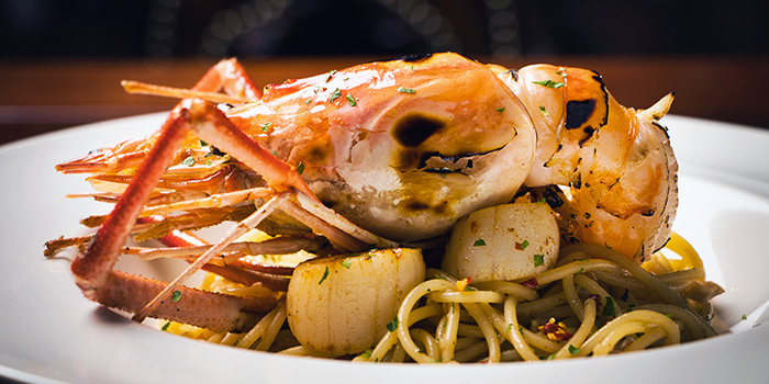 Spicy Prawn and Scallop Aglio Olio from The Cooperage in Clarke Quay, Singapore