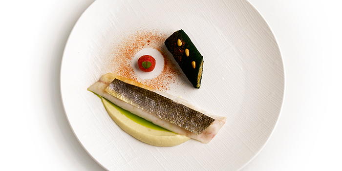 Seabass, Eggplant Cannolo, Pine Nuts, Leeks from Art in Raffles Place, Singapore