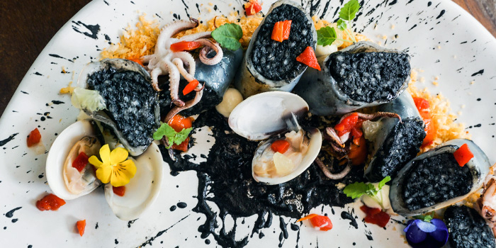 Squid Stuffed with Squid Ink Rice and Clams from Binomio on Craig Road in Tanjong Pagar, Singapore