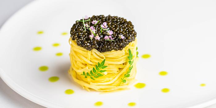 Tagliolini, Oscietra Caviar, Clam Veloute, Lemon Garum from Art in Raffles Place, Singapore
