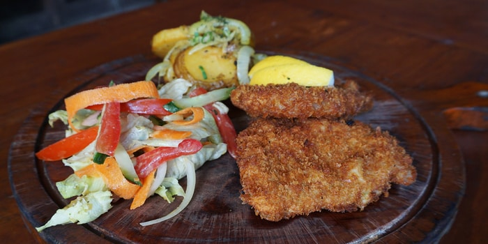 Pork Schnitzel at Double Doors Bar & Restaurant