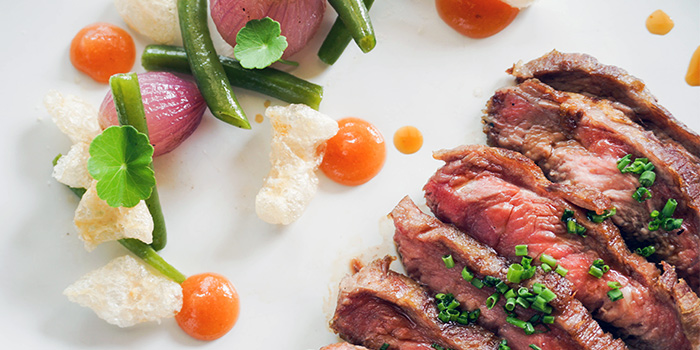 Char-grilled Pluma Iberica served with Green Beans, Quince compote and Pork Crackers from Binomio on Craig Road in Tanjong Pagar, Singapore