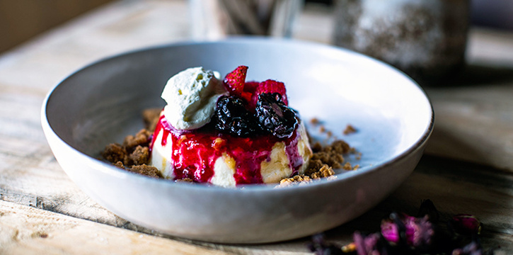 Cheese Fla with Mixed Berries from Olivia Restaurant & Lounge in Keong Saik, Singapore