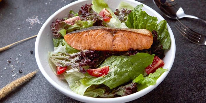 Grilled Salmon Salad from Harrison Butcher at 11/56 Soi Soon Wijai Yak 1 Bangkapi, Huaykhwang Bangkok