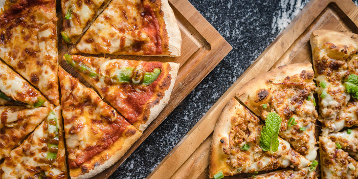 BBQ-Chicken-Pizza-&-Larb-Pizza from Pots Pints & Tikis in Patong, Phuket, Thailand