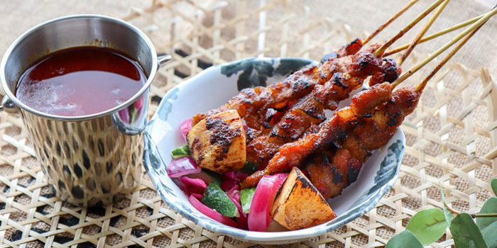 Pork and Pineapple Satay from Urbana Rooftop Bar at Courtyard by Marriott Singapore in Novena, Singapore