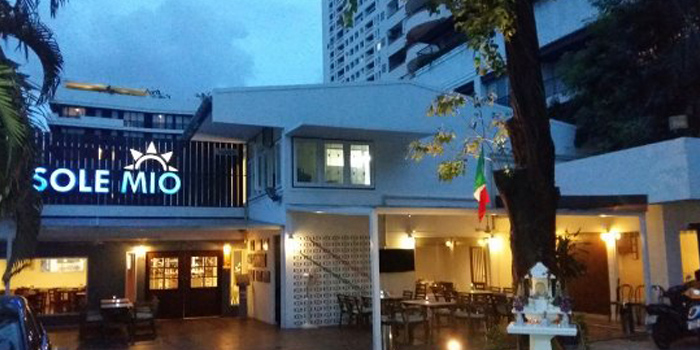 Entrance of Sole Mio Pizzeria Italian Restaurant Wine Bar at Akkhara Phat Alley Khlong Tan Nuea, Khet Watthana Bangkok