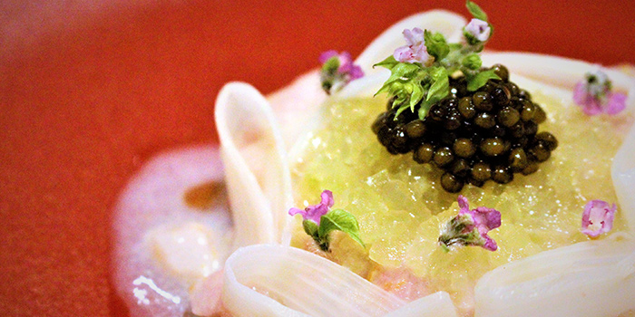 Hamachi Tartare with Poached White Asparagus and Caviar from Gattopardo Ristorante di Mare on Tras Street in Tanjong Pagar, Singapore