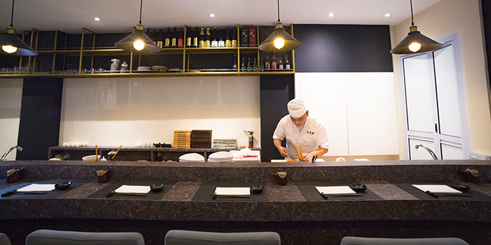 Interior of TORIO Japanese Restaurant at Link Hotel in Tiong Bahru, Singapore