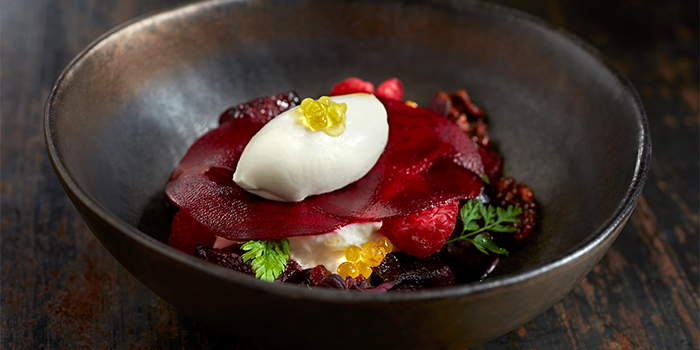 Pickled and Roasted Beetroot, Burrata, Smoked Walnuts, Horseradish Ice Cream from Esquina in Chinatown, Singapore