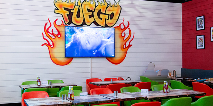Interior of Fuego Bar & Kitchen at Alexandra Technopark Block B in West Coast, Singapore