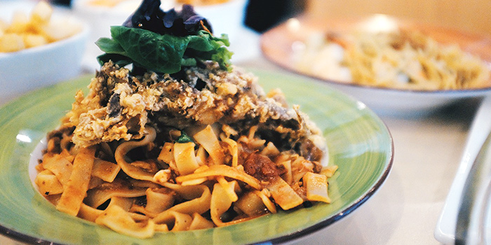 Chili Crab Pasta from Crossings Cafe at Catholic Centre Building in Bugis, Singapore