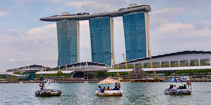 Boats from The Floating Donut Company in Marina Bay, Singapore