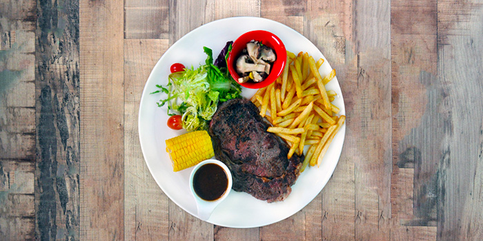 Grass-fed Ribeye Steak from The Grumpy Bear Cafe at Kebun Baru Community Centre in Ang Mo Kio, Singapore