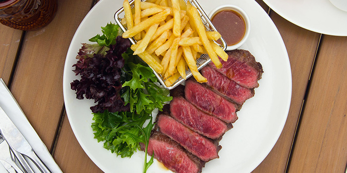 Steak and Frites of Ola Beach Club at Siloso Beach in Sentosa, Singapore