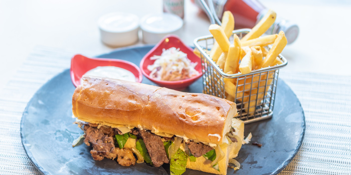 Steak-Sandwich from Sea Breeze Cafe in Patong, Phuket, Thailand.
