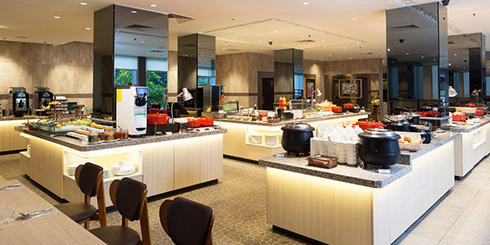 Interior of The FernTree Cafe at Hotel Miramar in River Valley, Singapore