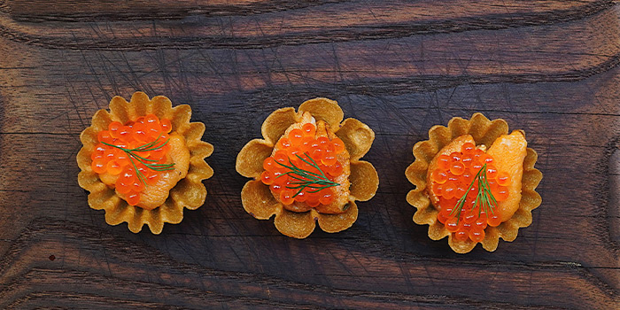 Uni and Ikura Tarts from Salted & Hung on Purvis Street in Bugis, Singapore