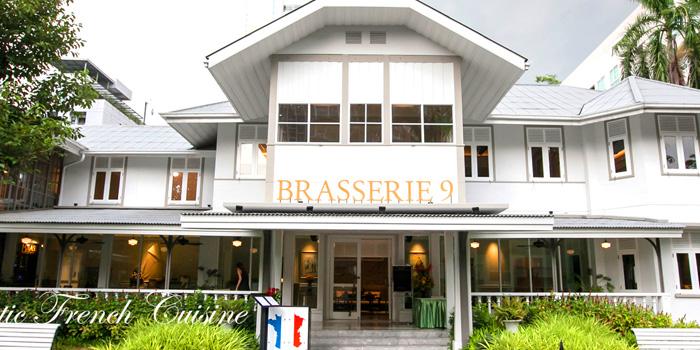 Entrance of Brasserie 9 at 27 Soi Piphat North Sathorn Road, Silom Bang Rad, Bangkok