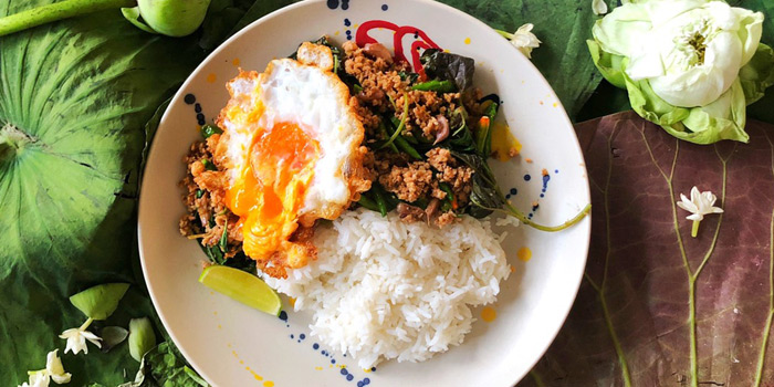 Khaw PadKapao from Yelo Cafe at 20/2 Rama I Rd Khwaeng Wang Mai, Khet Pathum Wan Bangkok