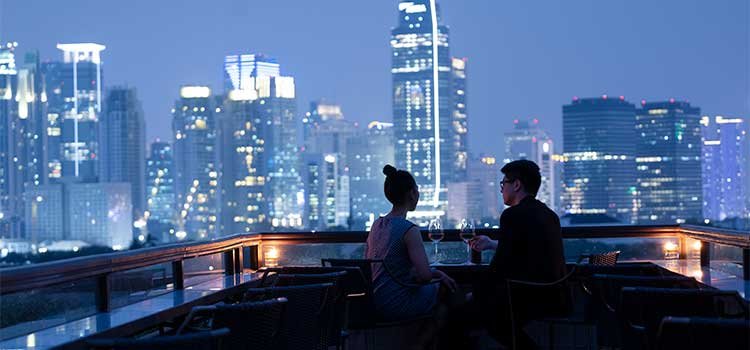 Rooftop Night View at La Vue Rooftop Bar by The Hermitage Jakarta