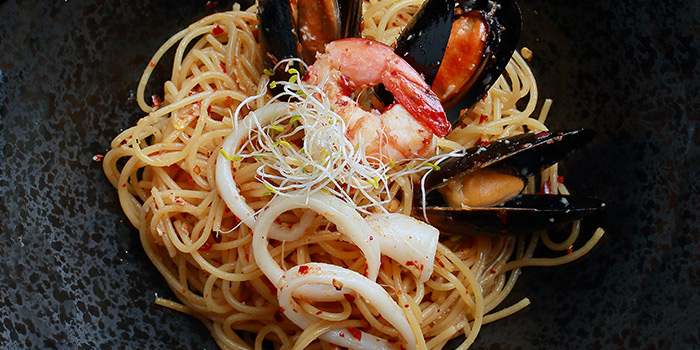 Seafood Aglio Olio from 5 Senses Bistro (The Star Vista) in Buona Vista, Singapore